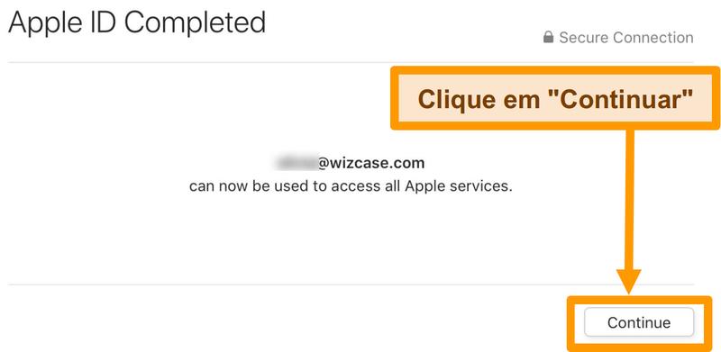 Screenshot de completar o registo apple ID para a App Store.
