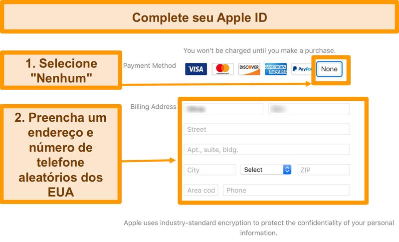 Screenshot do processo de pagamento para completar o registo apple ID para a App Store.