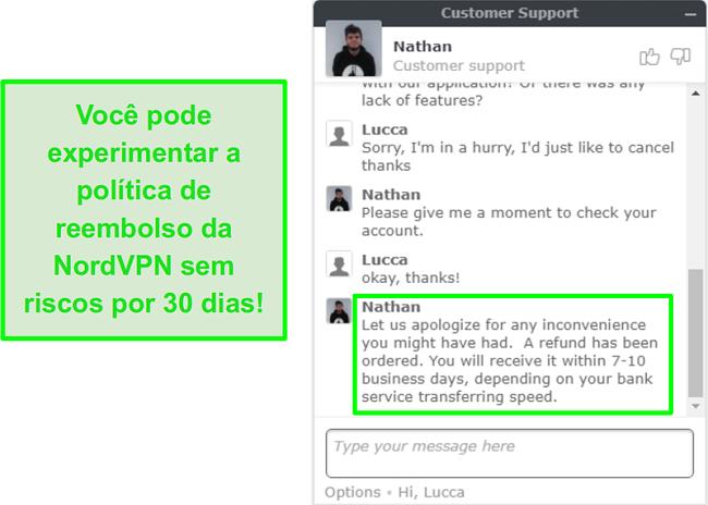 Screenshot do apoio ao cliente do NordVPN aprovando um pedido de reembolso através do chat ao vivo