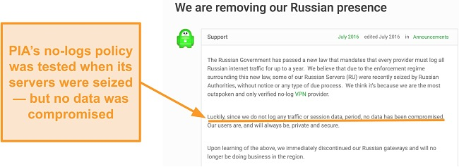 Screenshot of Private Internet Access VPN's website with a blog post describing the reason behind PIA's withdrawal from Russia