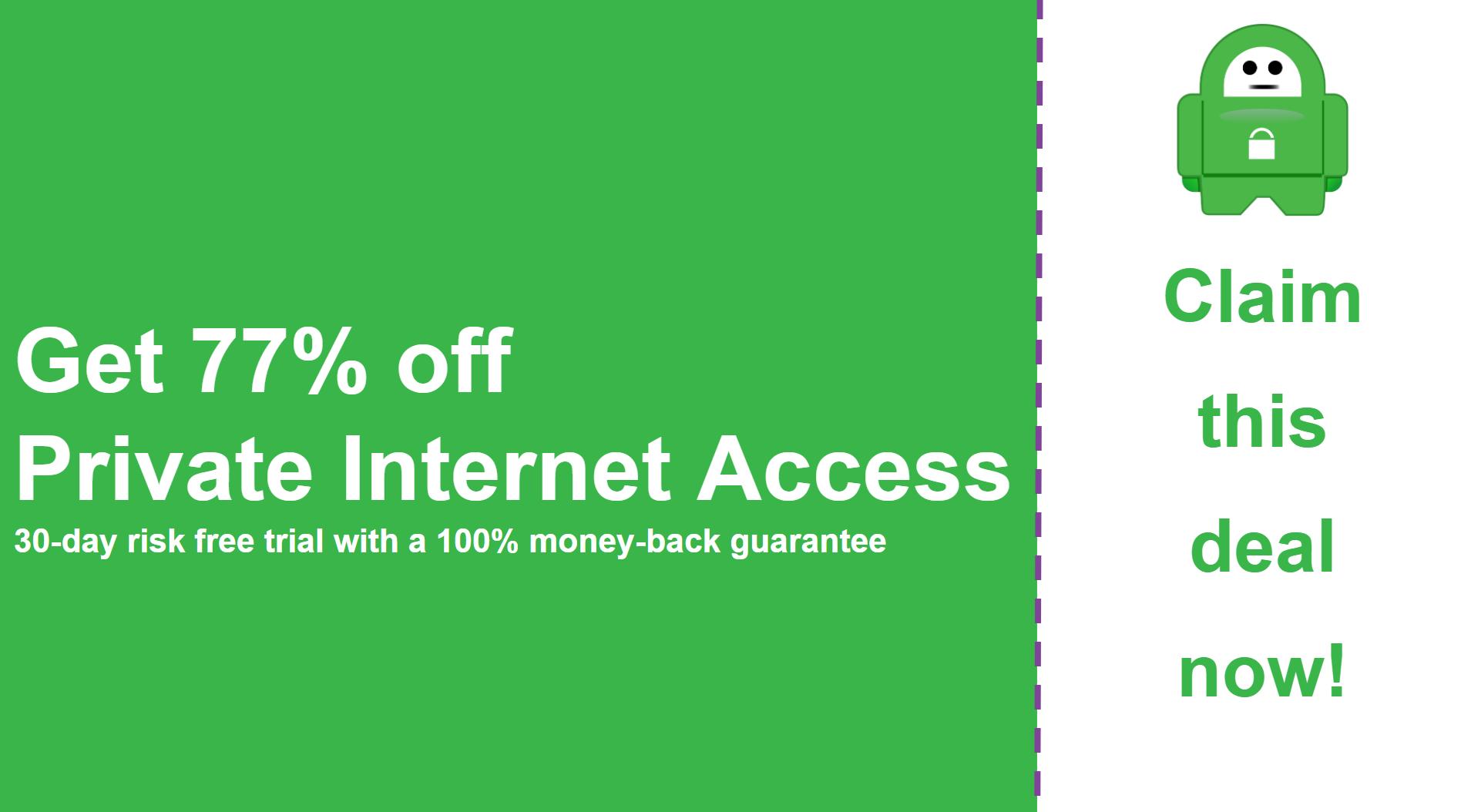 Screenshot om main Private Internet Access Coupon