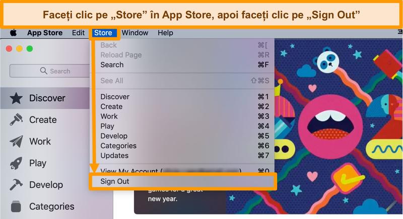 Captură de ecran a procesului de deconectare din App Store.