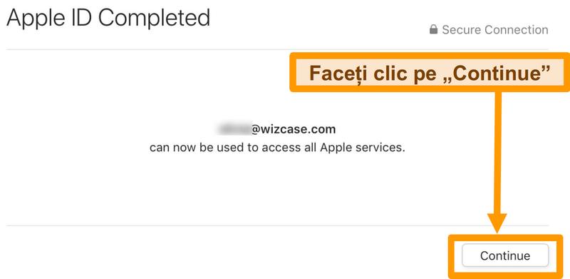 Captură de ecran cu finalizarea înregistrării ID-ului Apple pentru App Store.