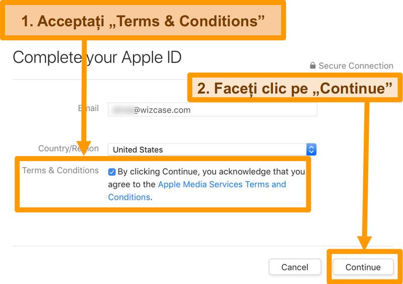 Captură de ecran a procesului de acceptare a termenilor și condițiilor pentru a finaliza înregistrarea ID-ului Apple pentru App Store.