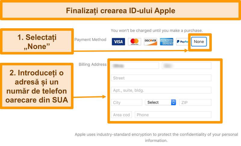 Captură de ecran a procesului de plată pentru a finaliza înregistrarea ID-ului Apple pentru App Store.