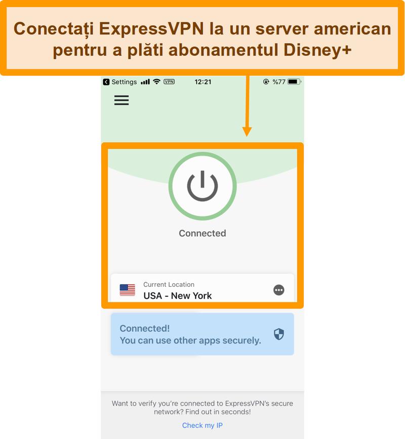 Captură de ecran cu conectarea la serverul din SUA prin ExpressVPN pe un smartphone.