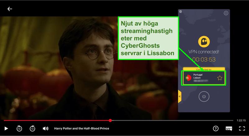 Skärmbild av Cyberghost VPN ansluten till Portugal server och streaming Harry Potter på Netflix