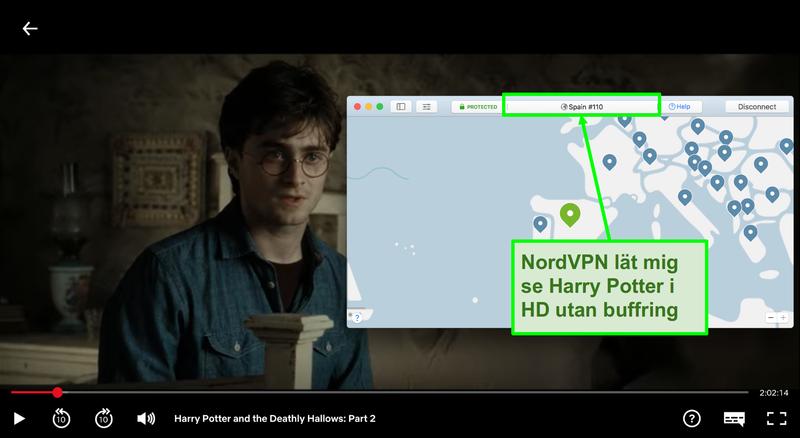 Skärmbild av NordVPN ansluten till Spanien server och streaming Harry Potter på Netflix