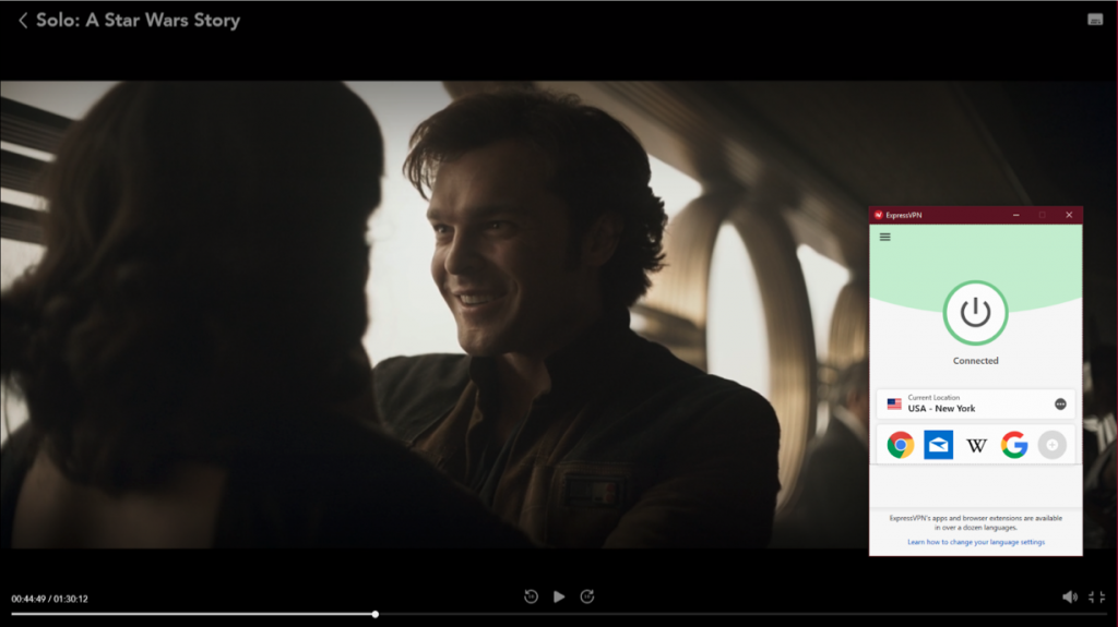Screenshot of ExpressVPN streaming Solo: A Star Wars Story from Disney+ UK.