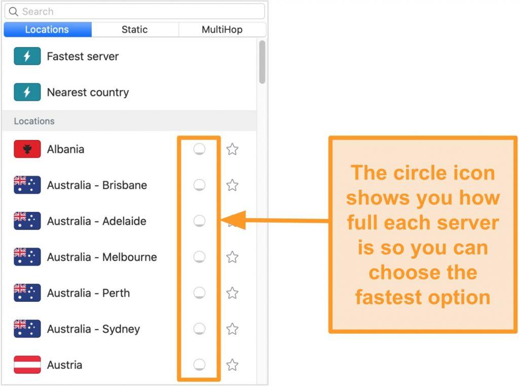 Screenshot of Surfshark's server list displaying server load