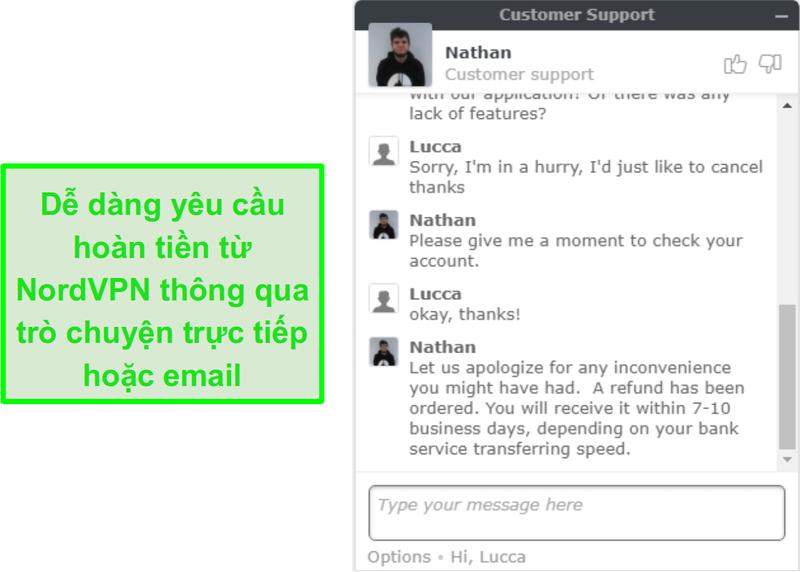 Ảnh chụp màn hình thành công yêu cầu hoàn lại tiền từ NordVPN qua chat trực tiếp