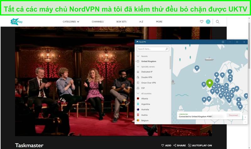 Ảnh chụp màn hình nordvpn bỏ chặn taskmaster trên UKTV