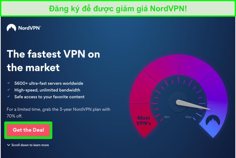 Ảnh chụp màn hình của trang đối phó NordVPN