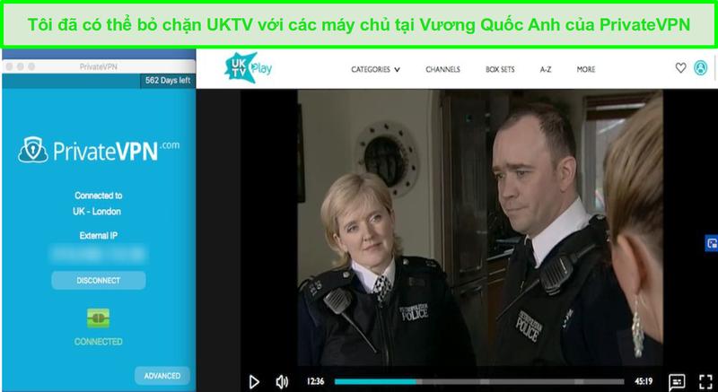 Ảnh chụp màn hình của PrivateVPN bỏ chặn Bill trên UKTV