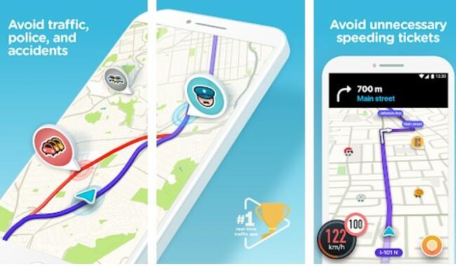Screenshot of Waze app