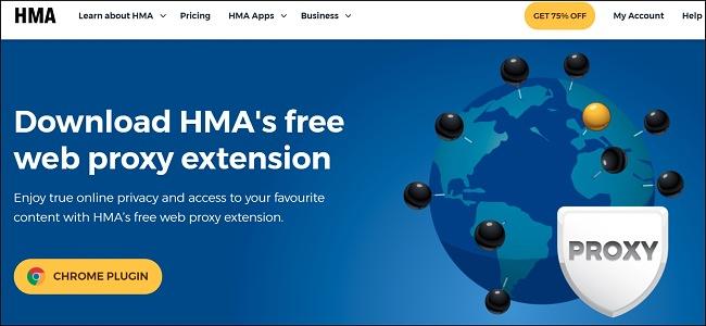 Screenshot of HMA browser proxy landing page
