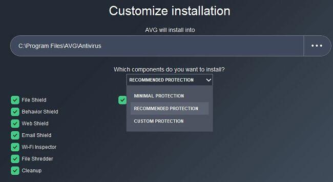 Customize AVG installation