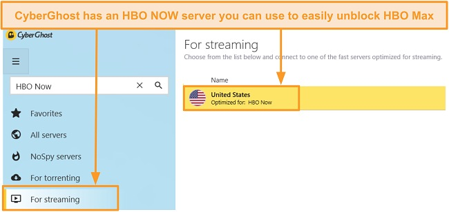 Screenshot of CyberGhost optimized server for HBO NOW to unblock HBO Max