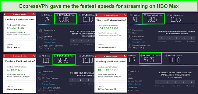 Screenshot of ExpressVPN speed test results when connected to US servers