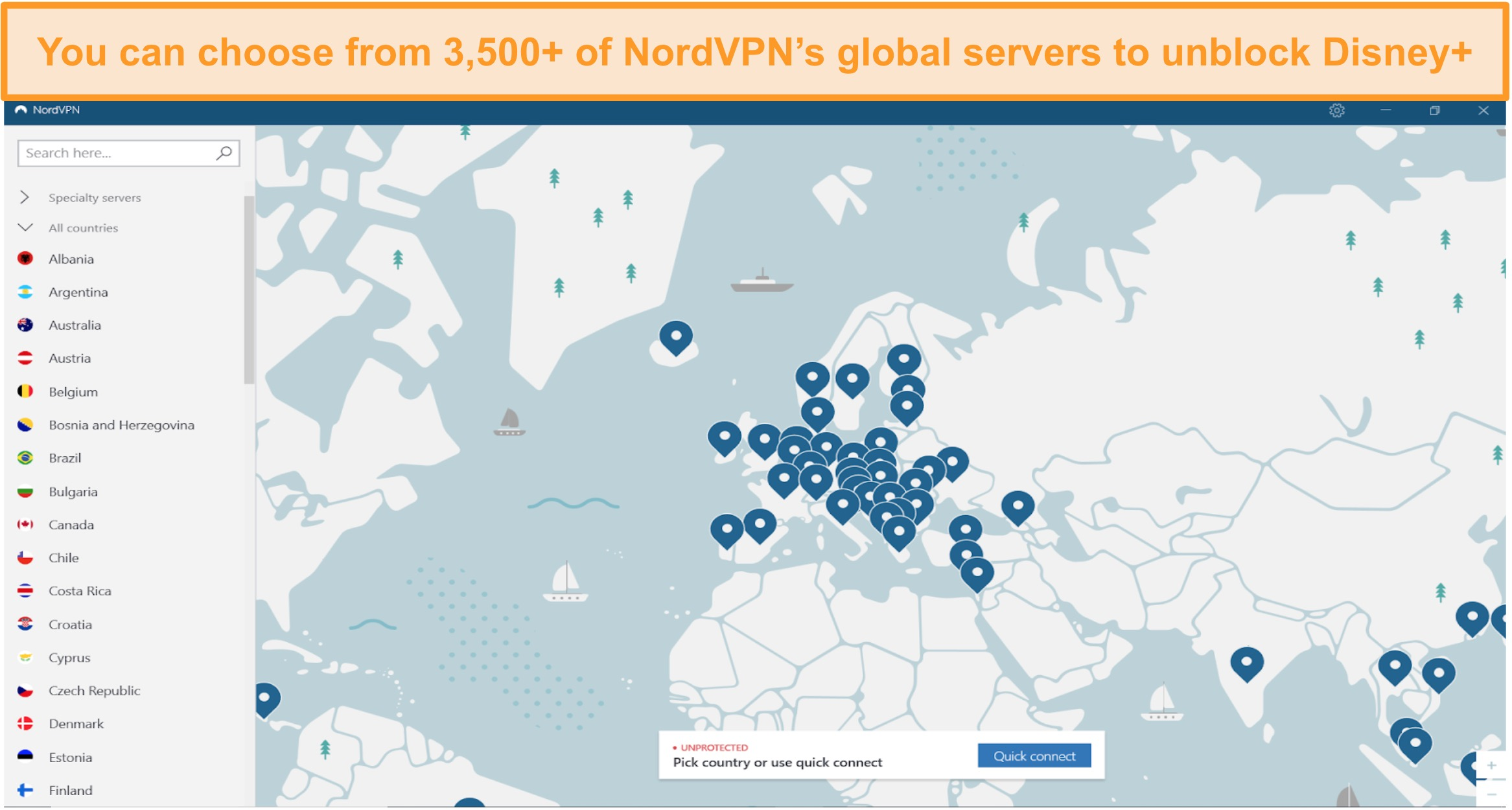 Screenshot of NordVPN interface with global servers list