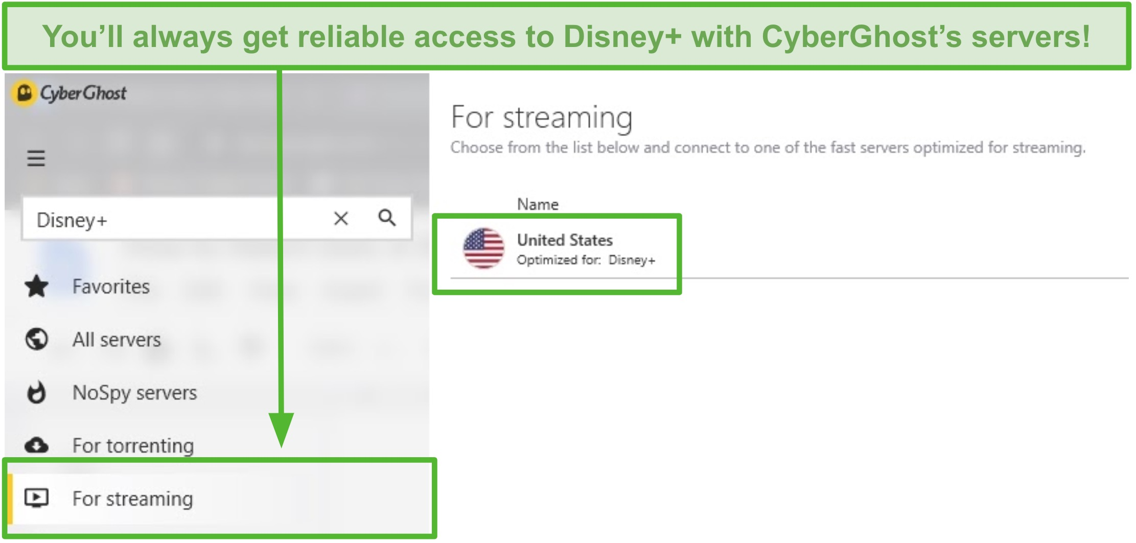 Screenshot of CyberGhost unblock Disney+ with the optimized US server