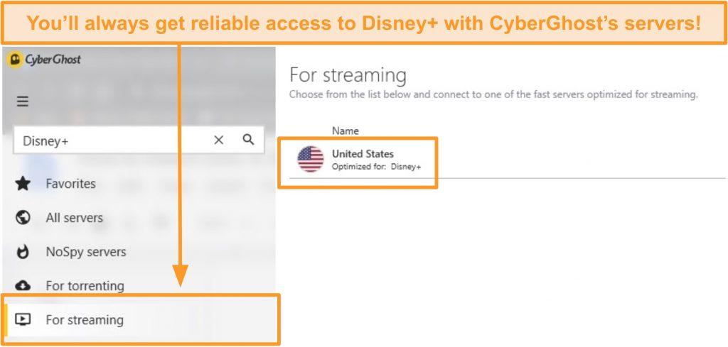 Screenshot of CyberGhost's dedicated Disney+ US streaming server inside the Windows app.