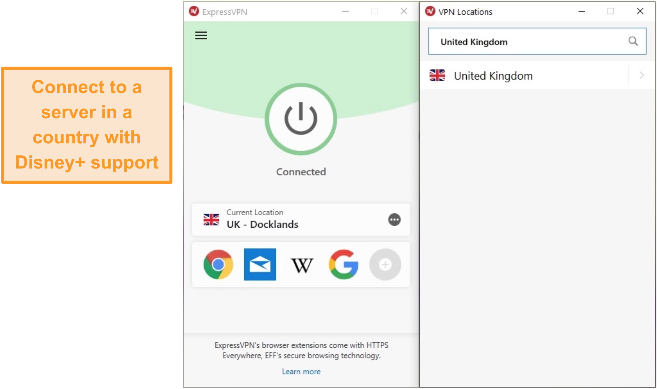 Screenshot of ExpressVPN connected to a UK Docklands server.