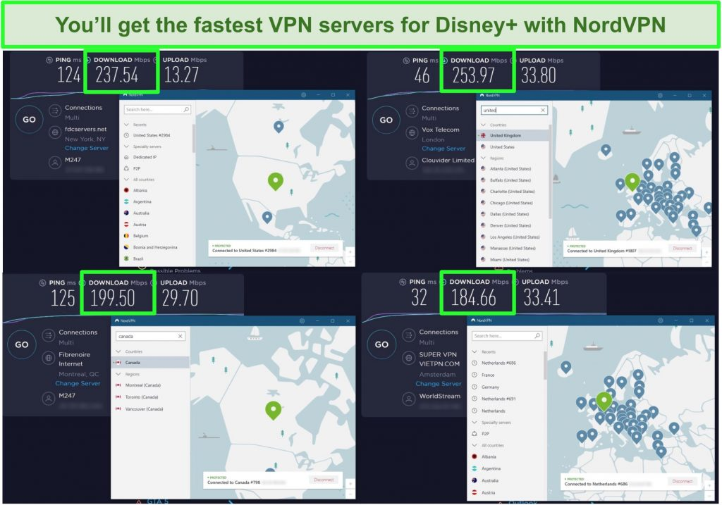 Screenshot of NordVPN speed tests with New York, London, Montreal, and Amsterdam servers, with a minimum speed of 184 Mbps.