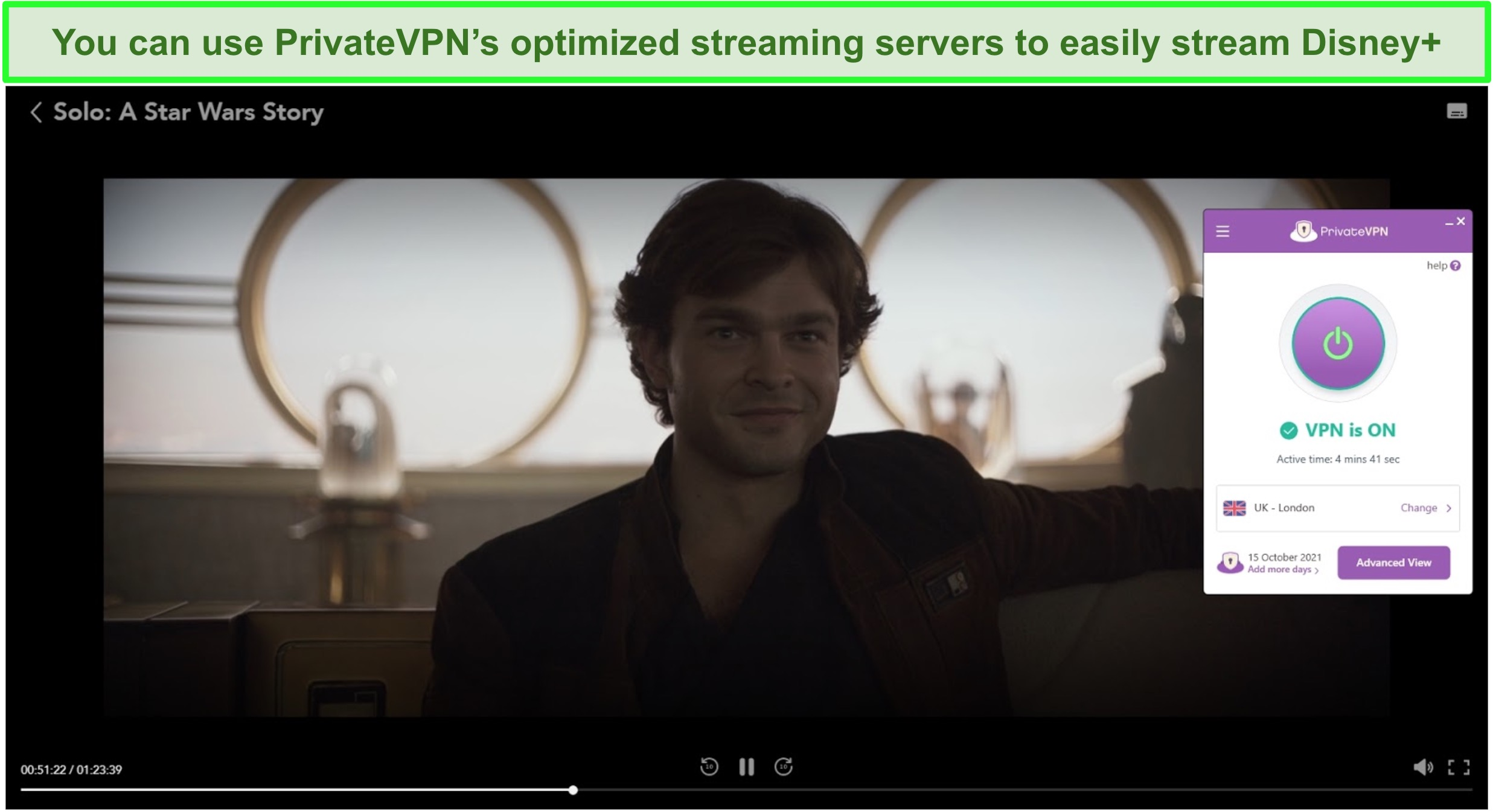Screenshot of PrivateVPN streaming Solo: A Star Wars Story from Disney+ UK.