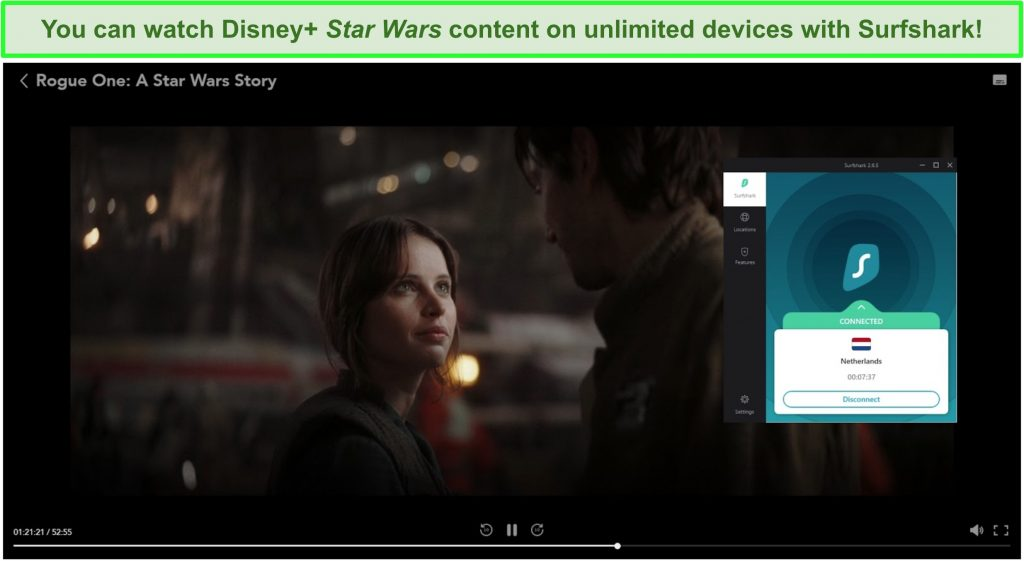 Screenshot of Surfshark streaming Rogue One: A Star Wars Story from Disney+ Netherlands.