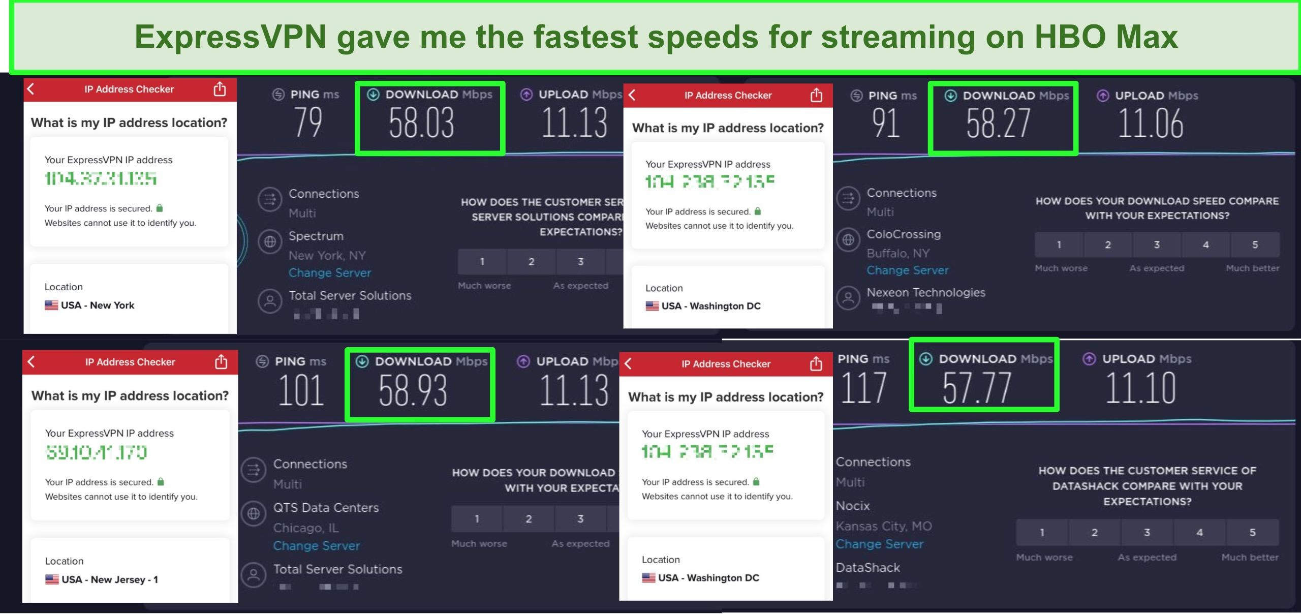 Screenshot of ExpressVPN speed tests