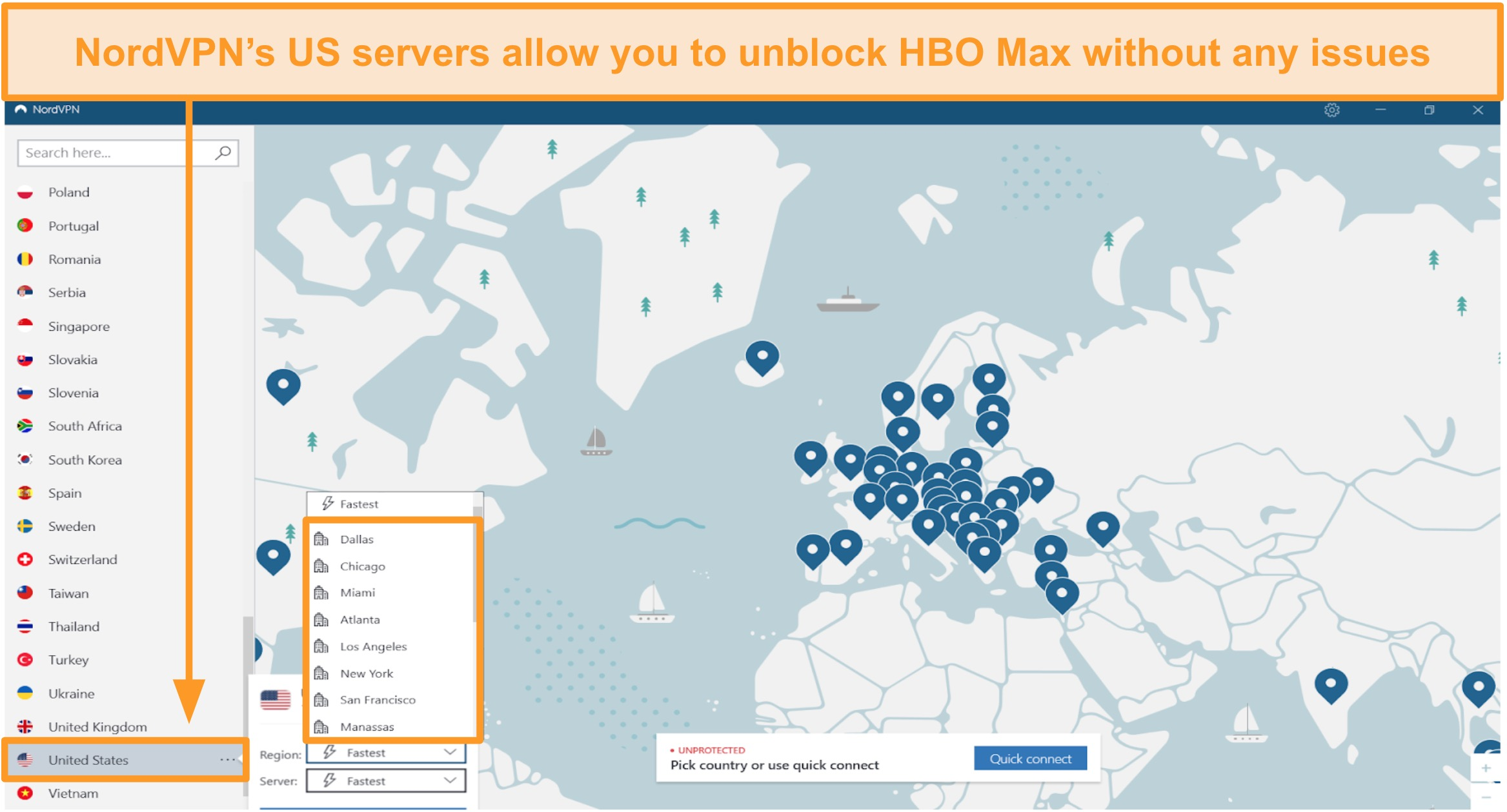 Screenshot of NordVPN regional US servers to unblock HBO Max from abroad