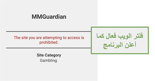 لقطة شاشة لمرشح الويب الذي تم الإعلان عنه