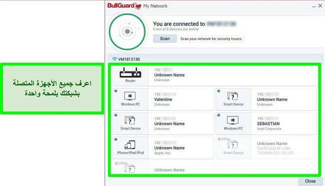 لقطة شاشة من BullGuard's Network Scanner والأجهزة المتصلة بنشاط بشبكة.