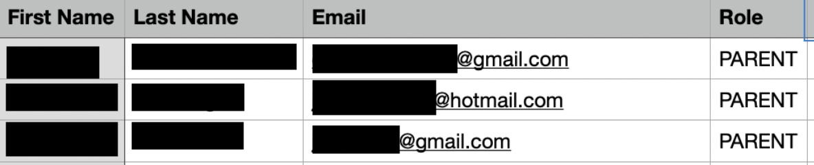 screenshot of personal data exposed