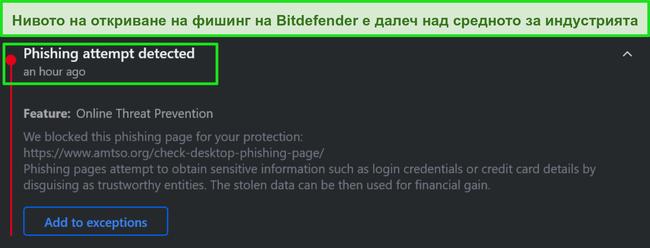 Предупреждение за фишинг на работния плот на Bitdefender.