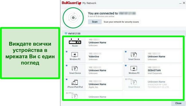 Екранна снимка на мрежовия скенер на BullGuard и устройствата, свързани активно към мрежа.
