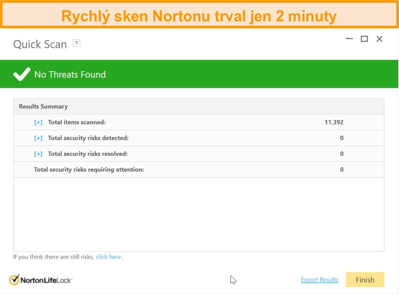 Screenshot výsledku rychlého skenování Norton 360
