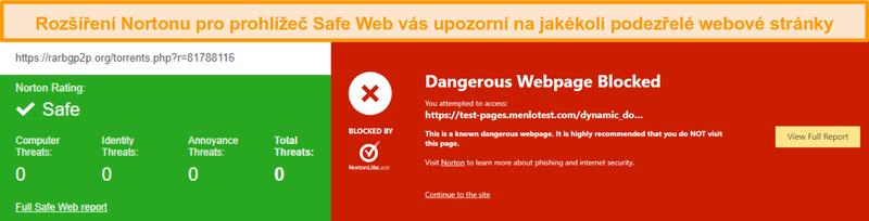 Screenshot z Norton Safe Web potvrzující, že je web bezpečný nebo nebezpečný.