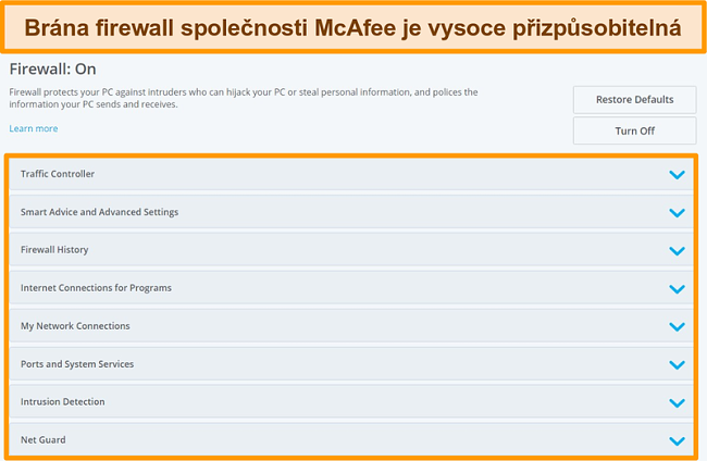 Screenshot funkcí McAfee Firewall