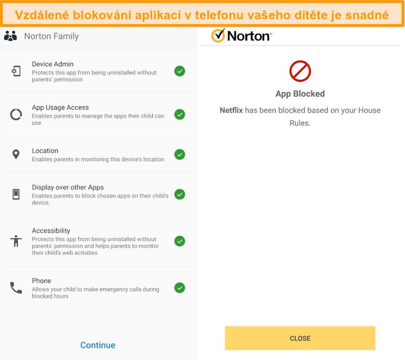 Screenshot z přehledu rodičovské kontroly Norton 360 v mobilu