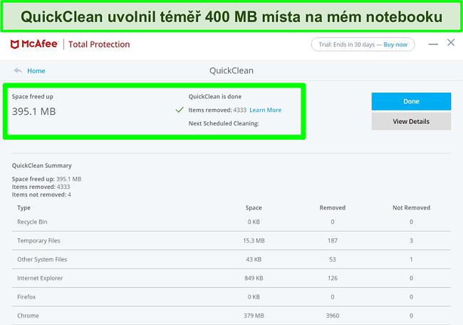 Screenshot funkce McAfee QuickClean ve Windows