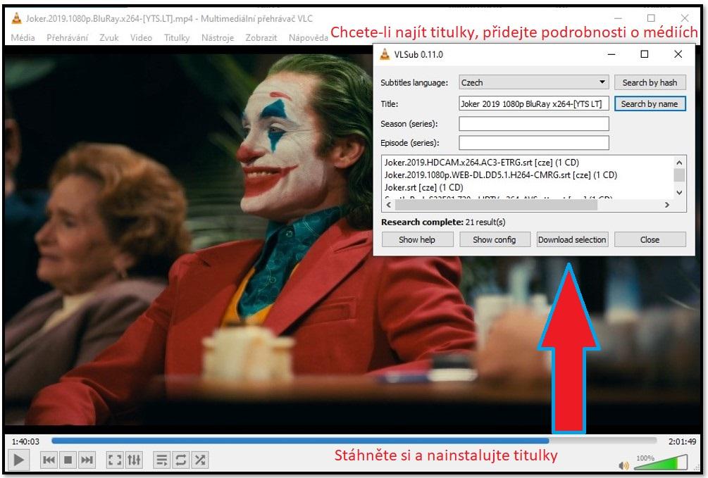 Stáhnout titulky s VLC