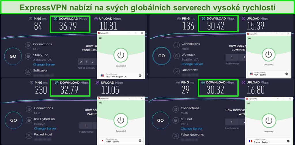 Snímek obrazovky s ExpressVPN připojeným k různým serverům a rychlostními testy Ookla