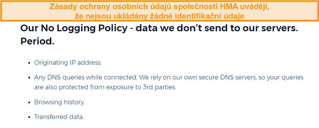 Snímek obrazovky hma vpn (Hidemyass) a jeho zásady ochrany osobních údajů bez protokolování