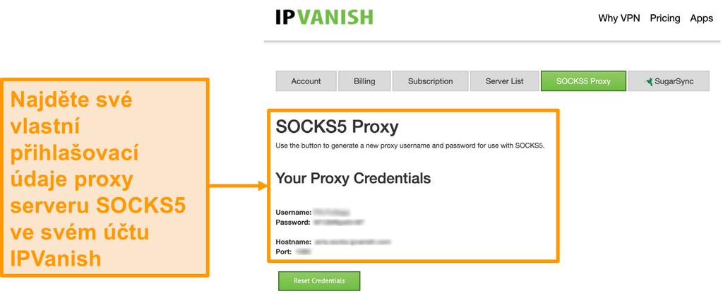Screenshot z IPVanish je zdarma SOCKS5 proxy server pověření na webových stránkách