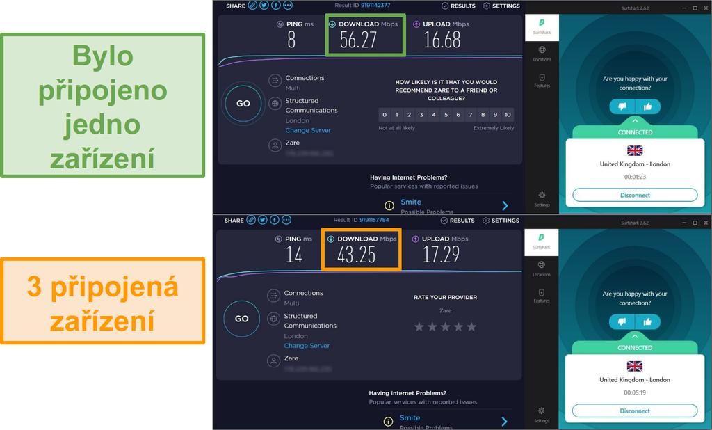 Snímek obrazovky s rozdílem rychlosti mezi 1 připojeným zařízením a 3 připojenými zařízeními