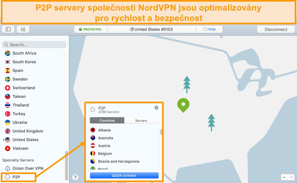 Snímek obrazovky s P2P servery NordVPN v aplikaci Mac
