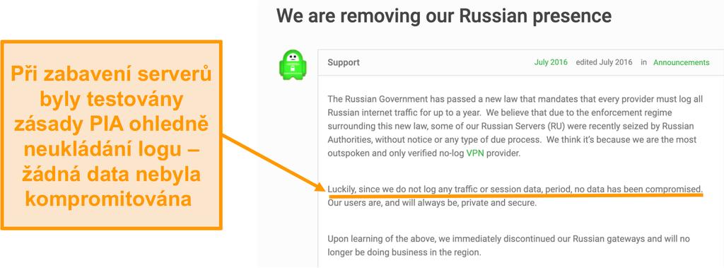 Snímek obrazovky s webovými stránkami private internet access VPN s blogovým příspěvkem popisujícím důvod stažení PIA z Ruska