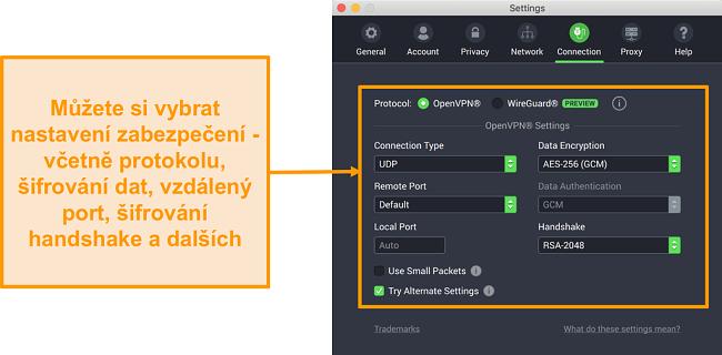 Snímek obrazovky s vpn private internet access a jeho aplikací pro Mac zobrazující možnosti přizpůsobení karty Připojení